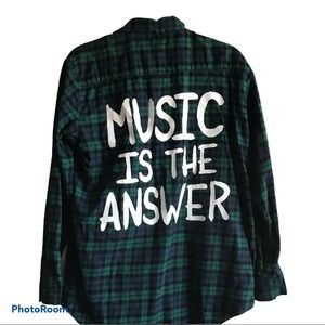 Jac Vanek Flannel Plaid Music is the Answer Small